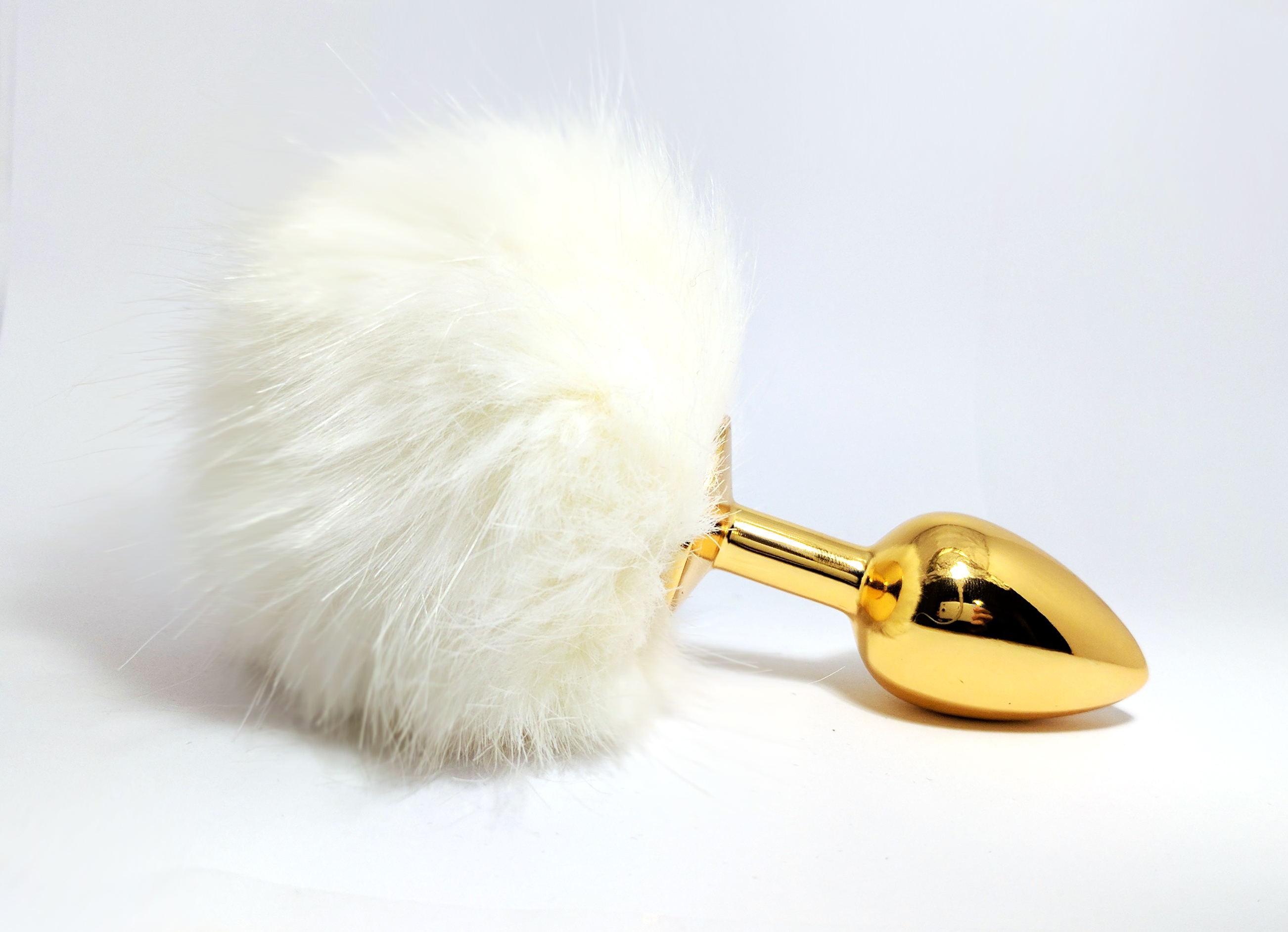 ce576c43ac7 White bunny tail gold butt plug - Krystail Intimate Jewelry